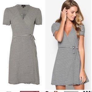 Topshop Black and White Striped Wrap Dress